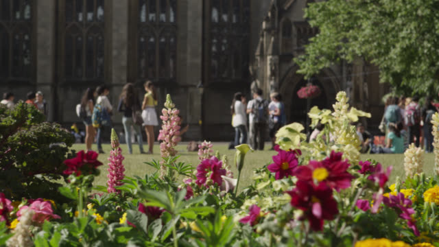 People relax beyond flower bed in cathedral grounds, Bristol, England