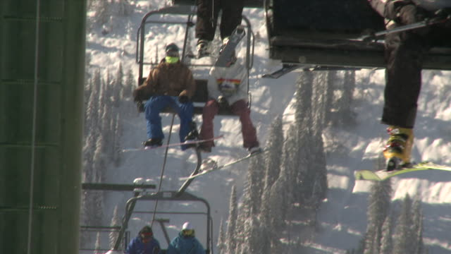 MS people riding chairlift in winter / nelson, british columbia, canada
