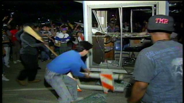 KTLA People Rioting At Parker Center headquarters for the Los Angeles Police Department after the Rodney King verdict