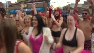 People running in Cupids Undie run on February 15 2014 in Chicago Illinois The run was held in 30 cities around the world The Chicago run raised...