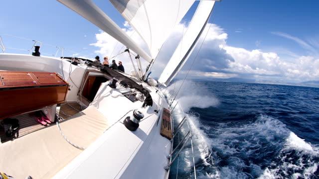 SLO MO People Sailing On Rough Sea
