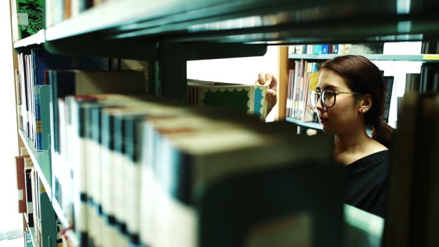 People Search Book Shelves In Library