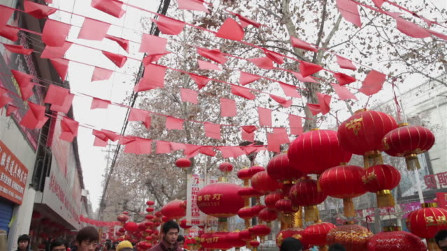 WS TD People shop for lanterns during Chinese spring festival in street market / xi'an, shaanxi, china