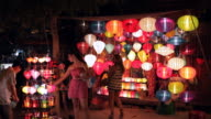 WS LD People Shopping for Lanterns / Hoi An, Vietnam
