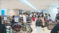 MS T/L People shopping in department store / Seoul, South Korea