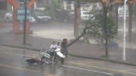 People Struggle In Fierce Hurricane Winds