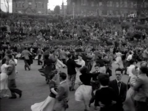 People take part in a country dance event in Bangor County Down to celebrate the Coronation of Elizabeth II