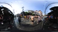People take part in water fights during Songkran or Thaiu New Year celebrations in Chiang Mai Thailand