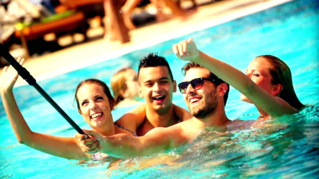 People Taking Selfies At Swimming Pool Stock Footage Video Getty Images