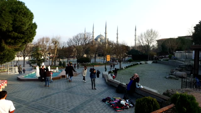 People visit Istanbul's famous Sultan Ahmed Mosque known locally as the Blue Mosque on March 10 2017 in Istanbul Turkey Completed in 1616 the popular...