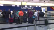 People Waiting In Line At Midway Airport during in Chicago on Dec 14 2014