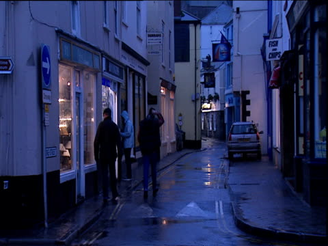 People walk down narrow street with shops Devon
