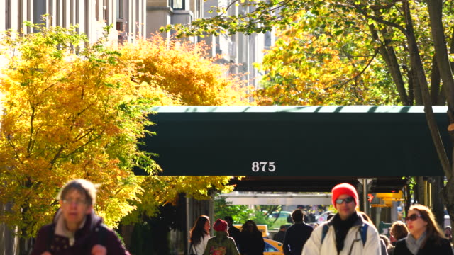 People walk down the Fifth Avenue sidewalk, which is surrounded by autumn color trees at Central Park East Area Manhattan New York.  Central Park East Residential Buildings can be seen behind.