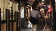 LS People walk through Omoide Yokocho, a narrow alley of traditional Japanese pubs and restaurants / Tokyo, Japan