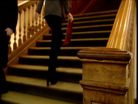 People walk up and down wide carpeted staircase
