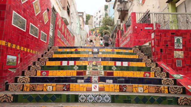 MS People walking and enjoying themselves on Santa Teresa steps or Escadaria Selaron in Rio / Rio De Janeiro, Brazil