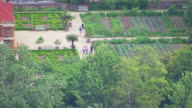 WS AERIAL POV People walking in gardens at Mount Vernon / Fairfax County, Virginia, United States