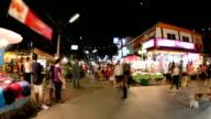 People walking in night market