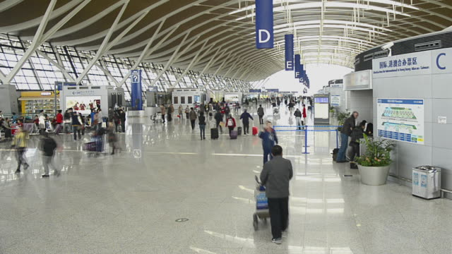 T/L WA People walking in Pudong Airport / Shanghai, China