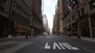 WS People walking in street lane / New York, United States
