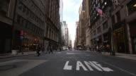 WS People walking in street lane / New York, United States