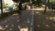 WS People walking in street /  Tel Aviv,Israel