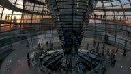 people walking inside Reichstag,evening time,WS