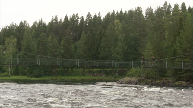 People walking on a suspension bridge Sweden.