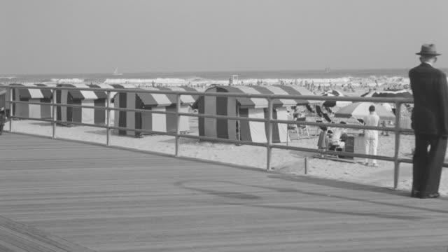 MS POV People walking on board near beach
