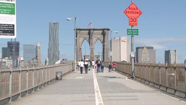 MS People walking on Brooklyn bridge / New York, New York, United States