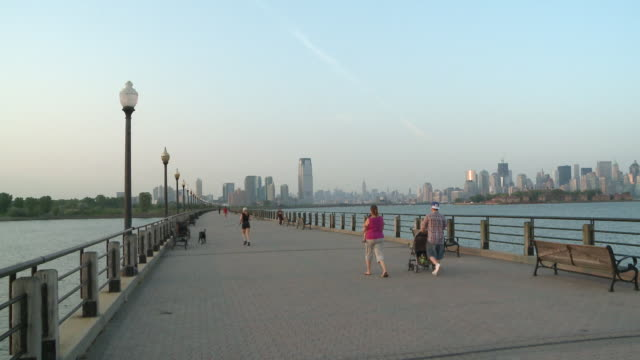 MS People walking on Liberty State Park promenade / Jersey City, New Jersey, United States