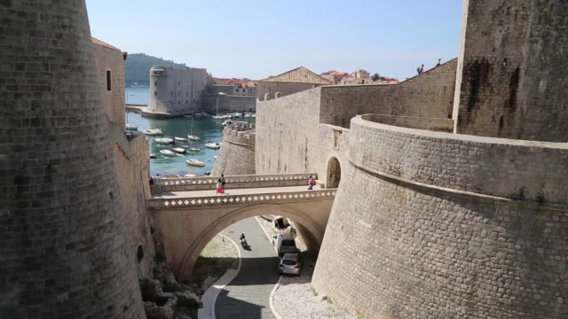 People walking on the bridge to the Ploce gate, Dubrovnik