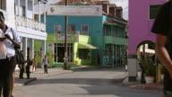 MS People walking on the street  / Brightown, Barbados