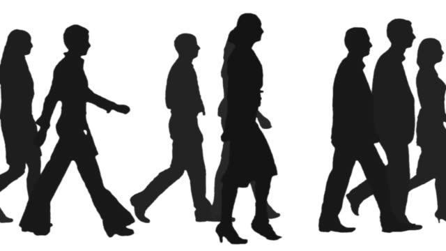 People walking one side