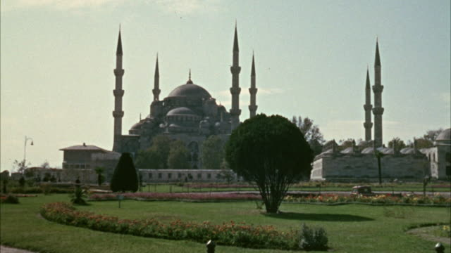 1967 WS People walking past Blue Mosque / Istanbul, Turkey