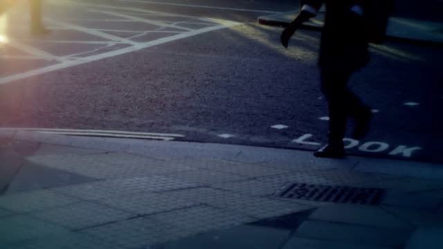 People walking, pedestrian crossing. HD, NTSC, PAL