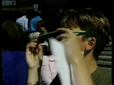 People watching eclipse through special viewers Total Eclipse in the UK 11 Aug 99