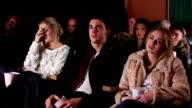 People watching horror / thriller movie at cinema / theatre