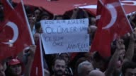 People wave Turkish flags and chant antiterror slogans during a protest against terrorist attacks on September 8 2015 in Mecidiyekoy neighbourhood of...