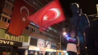 People wave Turkish flags as they gather at the square during a demonstration staged to protest the Parallel State/Gulenist Terrorist Organization's...