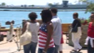 People wearing American colors at Navy Pier on July 4 2014 in Chicago Illinois