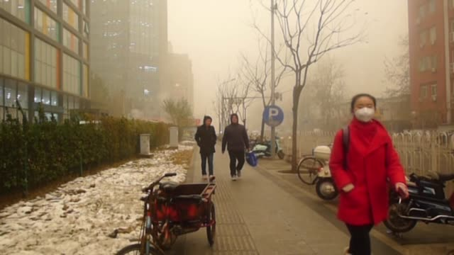 People wearing face mask walk amid heavy pollution and smog on December 01 2015 in Beijing China Footage by Mahmut Atanur / Anadolu Agency