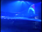 Sussex Gatwick Airport Air France Concorde painted blue with letters 'Pepsi' along side lit up MS Concorde tail PAN RL to nose GV Stage as curtains...