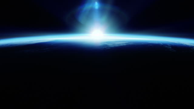 Perfect blue sunrise seen from space