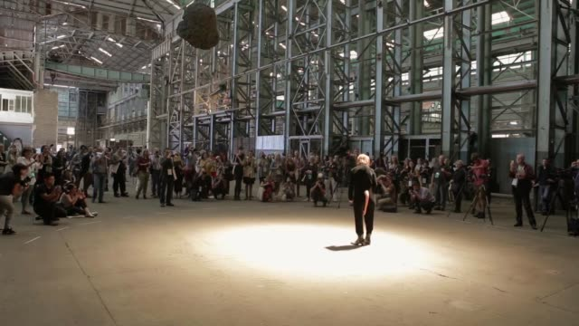 WS Performance by Artist Tori Wrånes Stone Singer in the Turbine room on Cockatoo Island Sydney in front of press launch