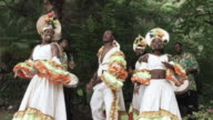 MS Performers dancing while musicians play hand drums, Arnos Vale, Tobago, Trinidad And Tobago