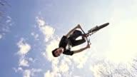 SLO MO MTB performing backflip trick