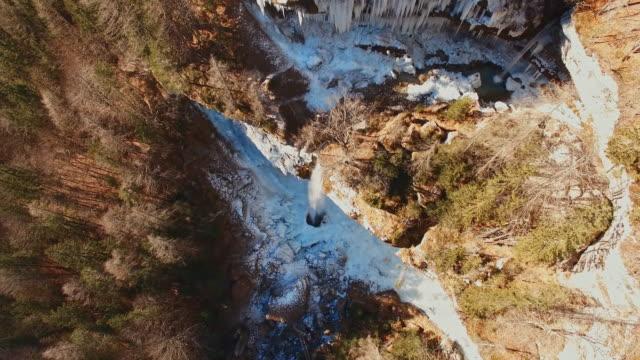 AERIAL Pericnik waterfall in Julian Alps