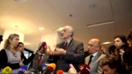 Permanent Representative of Syria to the United Nations Bashar Jaafari holds a press conference during the Syria peace talks in Geneva Switzerland on...