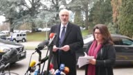 Permanent Representative of the Syrian Arab Republic to the United Nations Bashar Jaafari speaks to media following the meeting on the second day of...